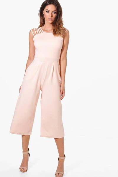 Boohoo Strappy Detail Culotte Jumpsuit in blush - Jump start your new season wardrobe with the always chic...