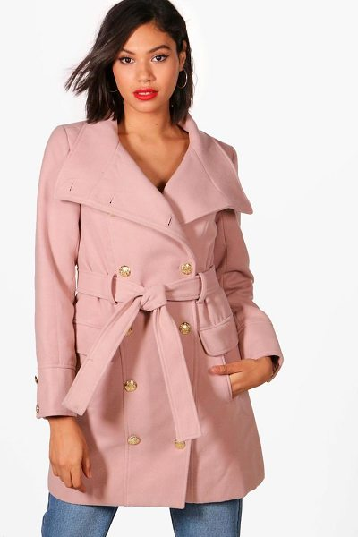 Boohoo Alana Double Breasted Military Belted Coat in nude - Wrap up in the latest coats and jackets and get...