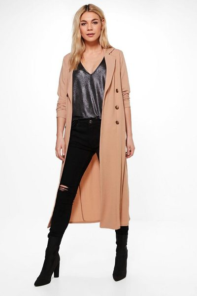 Boohoo Alana Double Breasted Military Duster in camel - Wrap up in the latest coats and jackets and get...