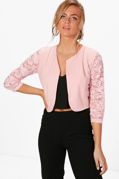 Boohoo Alana Lace Sleeve Edge To Edge Jacket in nude - Wrap up in the latest coats and jackets and get...