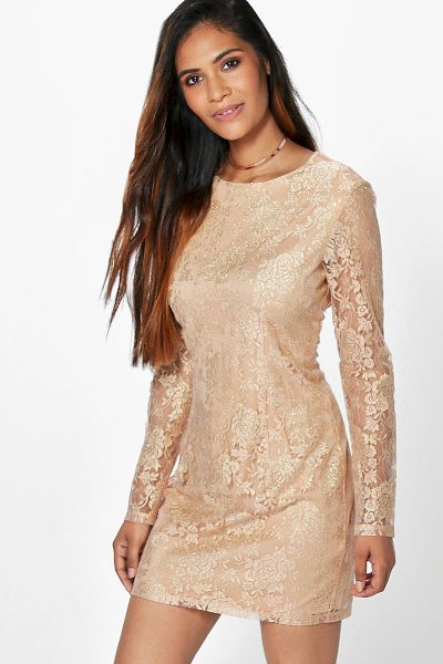 Boohoo Aleesha Metallic Lace Bodycon Dress in gold - Dresses are the most-wanted wardrobe item for...
