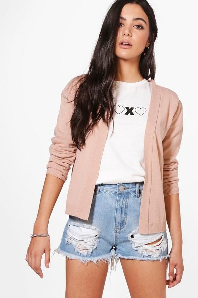 Boohoo Alexandra Fine Knit Crop Cardigan in nude - Nail new season knitwear in the jumpers and cardigans...