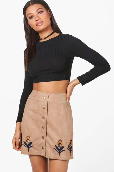 BOOHOO Alexi Embroidered Hem Button Front Suede Skirt - Skirts are the statement separate in every wardrobe This...