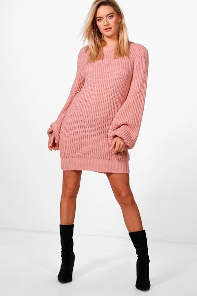 BOOHOO Alice Blouson Sleeve Soft Knit Jumper Dress - Nail new season knitwear in the jumpers and cardigans...
