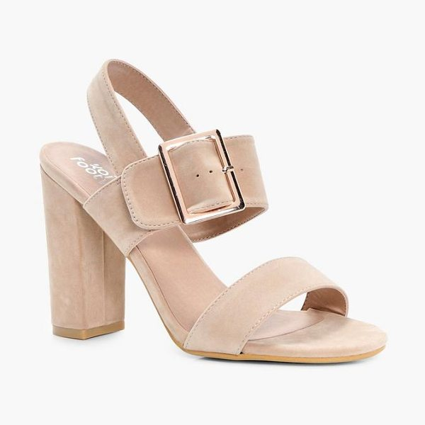 Boohoo Alice Buckle Detail Block Heels in nude - We'll make sure your shoes keep you one stylish step...