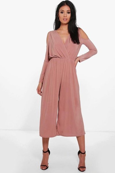 Boohoo Cold Shoulder Skinny Culotte Jumpsuit in mocha - Jump start your new season wardrobe with the always chic...