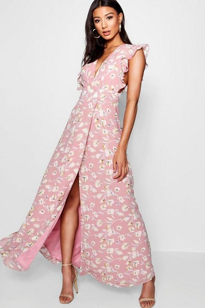 Boohoo Floral Frill Detail Wrap Maxi Dress in rose
