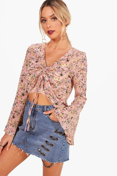 BOOHOO Alice Floral Woven Ruched Front Blouse - Steal the style top spot in a statement separate from the...