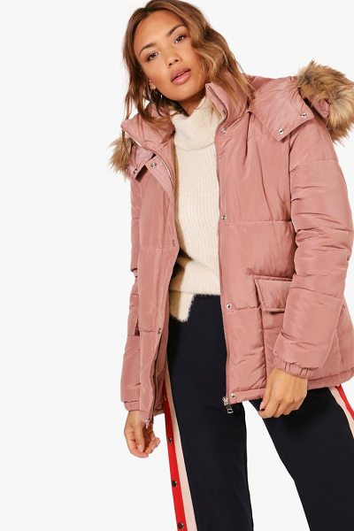 Boohoo Hooded Padded Coat With Faux Fur Trim in pink - Wrap up in the latest coats and jackets and get...
