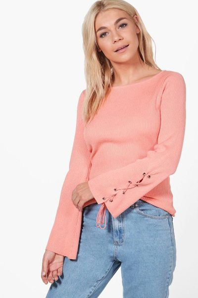 Boohoo Alice Lace Up Sleeve Rib Knit Jumper in dusky pink - Nail new season knitwear in the jumpers and cardigans...
