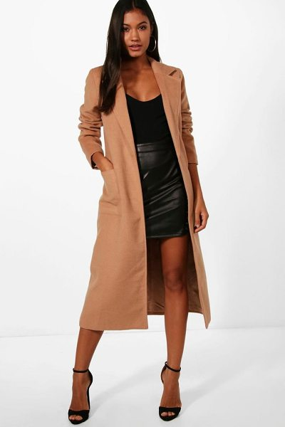 Boohoo Longline Button Wool Look Coat in dusky pink - Wrap up in the latest coats and jackets and get...