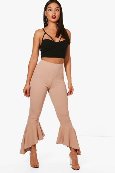 Boohoo Alice Ruffle Hem Trouser in stone - Trousers are a more sophisticated alternative to...
