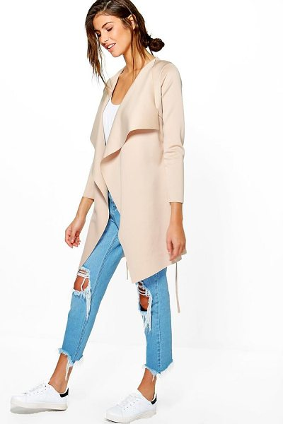 Boohoo Alice Scuba Duster in beige - Wrap up in the latest coats and jackets and get...