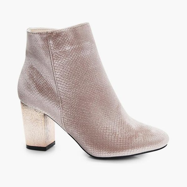 Boohoo Alice Snake Velvet Gold Block Heel Boot in nude - We'll make sure your shoes keep you one stylish step...