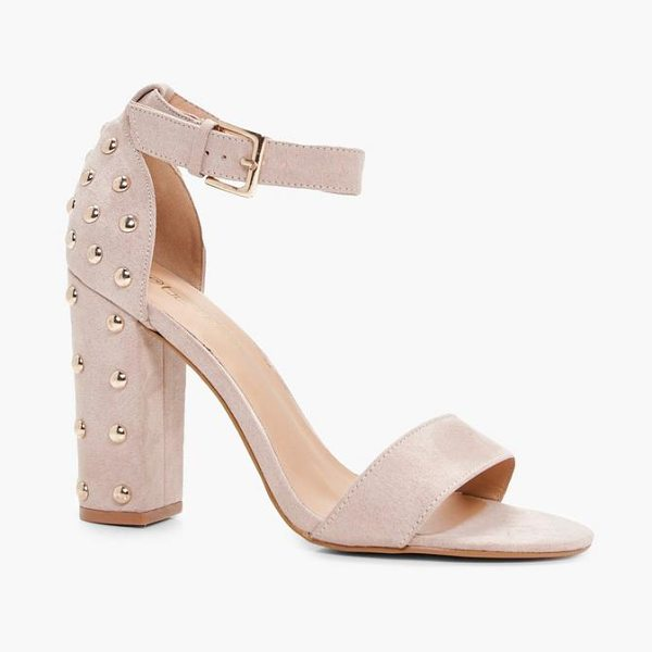 Boohoo Studded Back Two Part Block Heels in nude - We'll make sure your shoes keep you one stylish step...