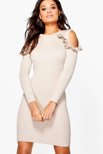 Boohoo Alicia Ruffle Cold Shoulder Rib Knit Jumper Dress in beige - Nail new season knitwear in the jumpers and cardigans...