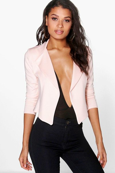 Boohoo Alicia Scuba Lapel Blazer in cream - Wrap up in the latest coats and jackets and get...