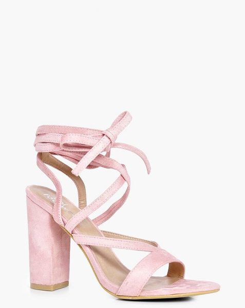 Boohoo Wrap Strap Block Heels in nude - We'll make sure your shoes keep you one stylish step...