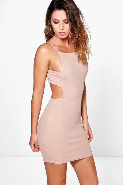 Boohoo Alina Square Neck Midi Strap Bodycon Dress in peach - Dresses are the most-wanted wardrobe item for...