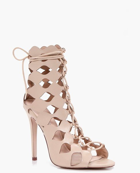 Boohoo Alisha Cage Ghillie Lace Up Heels in nude