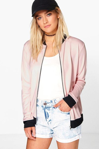 BOOHOO Alisha Crepe MA1 Bomber in nude - Wrap up in the latest coats and jackets and get...