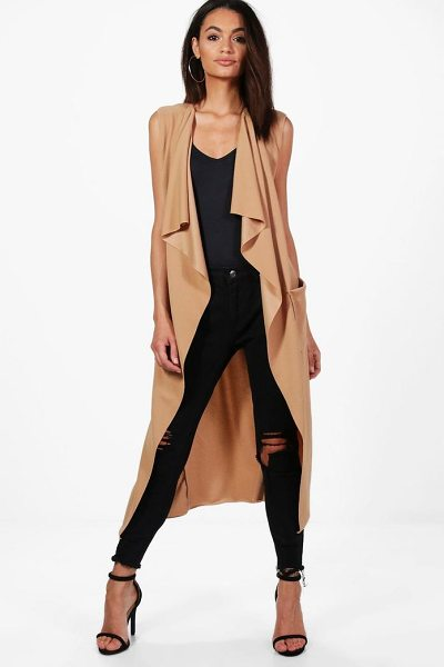 Boohoo Alisha Sleeveless Belted Duster in camel - Wrap up in the latest coats and jackets and get...