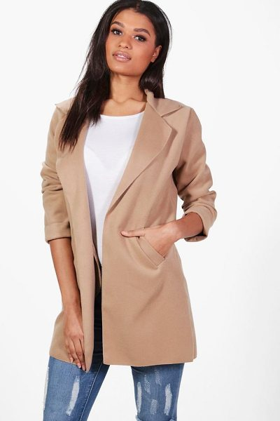 Boohoo Collared Coat in stone - Wrap up in the latest coats and jackets and get...