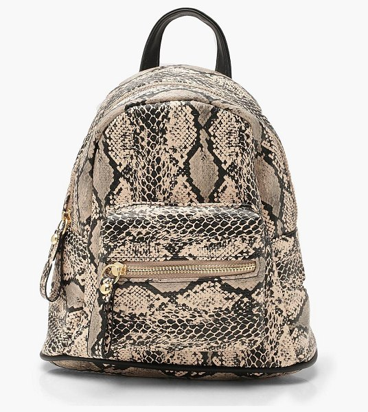 Boohoo All Over Snake Mini Rucksack in cream