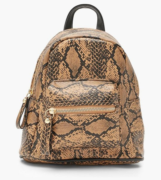 Boohoo All Over Snake Mini Rucksack in brown
