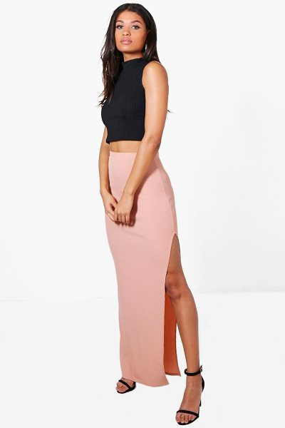 Boohoo Allegra Thigh Split Ribbed Maxi Skirt in camel - Skirts are the statement separate in every wardrobe This...