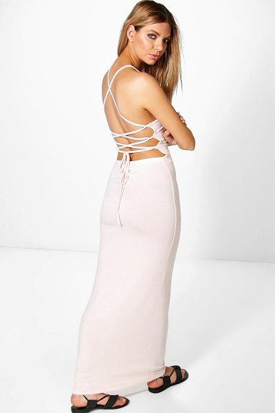 Boohoo Allessa Strappy Back Maxi Dress in nude - Allessa Strappy Back Maxi Dress nude
