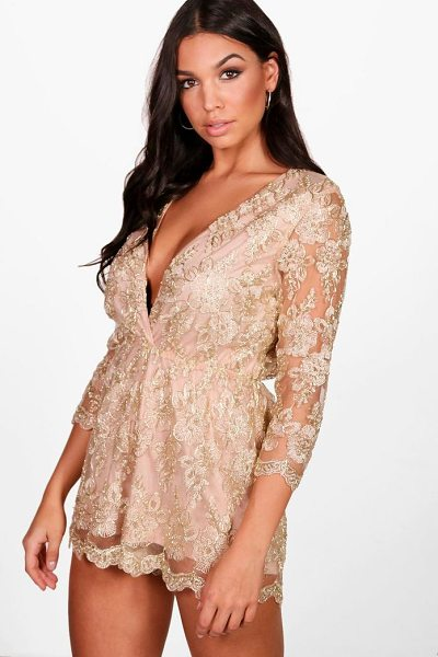 Boohoo All Over Embroidered Wrap Playsuit in gold - If you need a short cut to a killer outfit, the playsuit...