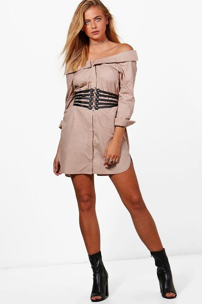 Boohoo Allie Off Shoulder Shirt Dress in sand - Dresses are the most-wanted wardrobe item for...