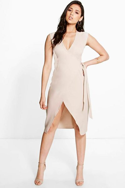 Boohoo Allie Wrap Front Dress in sand - Dresses are the most-wanted wardrobe item for...