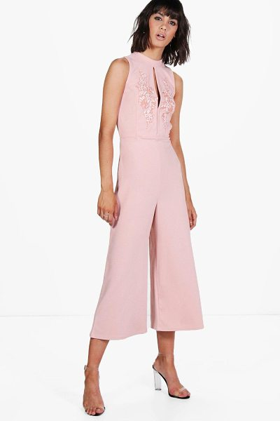 Boohoo Alyson High Neck Applique Culotte One Piece in rose - Alyson High Neck Applique Culotte Jumpsuit rose