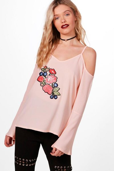 BOOHOO Alyssa Embroidered Cold Shoulder Woven Top - Steal the style top spot in a statement separate from...