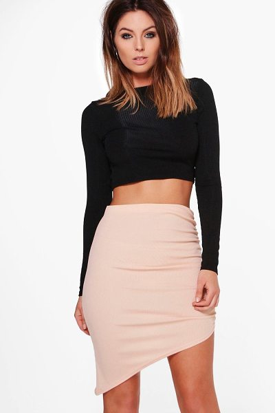 Boohoo Alyssa Ribbed Asymetric Midi Skirt in rose - Skirts are the statement separate in every wardrobe This...