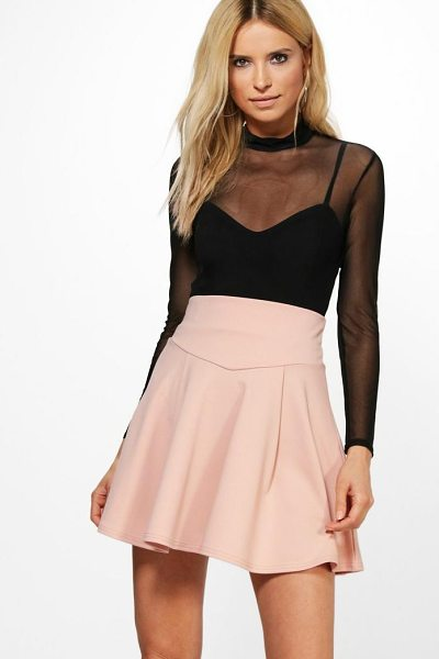 Boohoo Amala Highwaist Fit & Flare Mini Skirt in blush - Skirts are the statement separate in every wardrobe This...