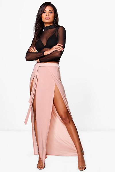 Boohoo Amala Tie Waist Double Thigh Split Maxi Skirt in blush - Skirts are the statement separate in every wardrobe This...