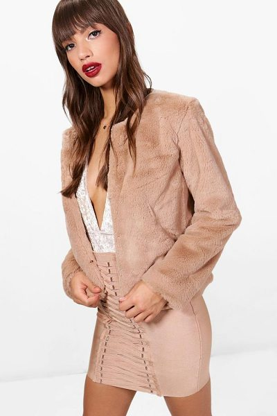 Boohoo Crop Faux Fur Coat in mocha - Warm up in style and instantly elevate your look with a...