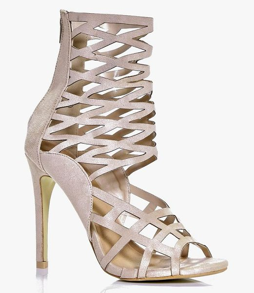 Boohoo Amber Peeptoe Caged Heels in cream - When it comes to heels, go high or go home!Send...
