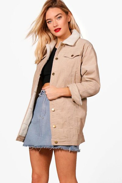 Boohoo Borg Long Line Cord Jacket in stone - Wrap up in the latest coats and jackets and get...