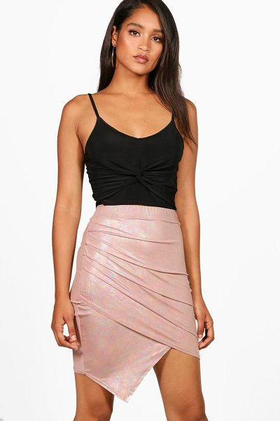 Boohoo Metallic Rouched Wrap Midi Skirt in blush - Skirts are the statement separate in every wardrobe This...