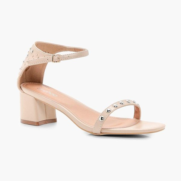 Boohoo Amelia Studded 2 Part Low Heel Sandals in nude - We'll make sure your shoes keep you one stylish step...