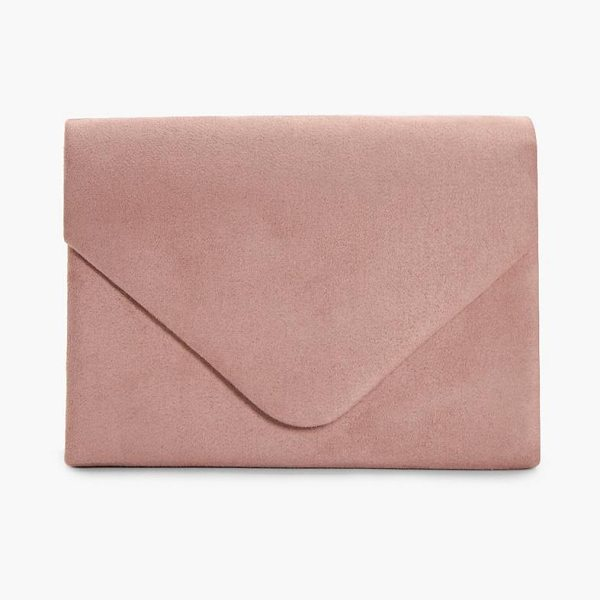 Boohoo Amelia Suede Envelope Clutch in nude - Add attitude with accessories for those fashion-forward...