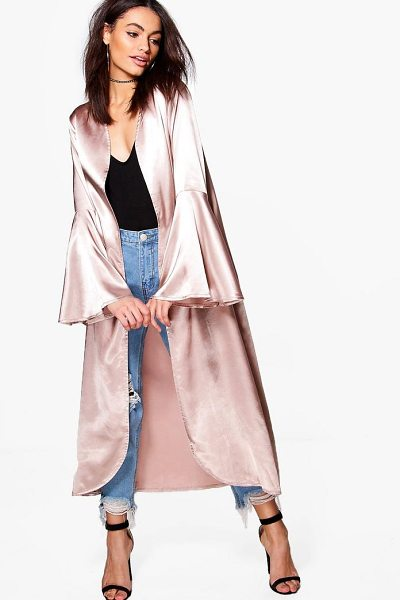 BOOHOO Amelie Flare Sleeve Satin Duster - Wrap up in the latest coats and jackets and get...