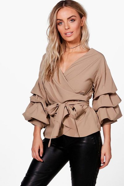 Boohoo Ruffle Tiered Sleeve Wrap Top in nude - Steal the style top spot in a statement separate from...