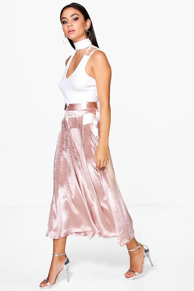 Boohoo Amelle Pleat Front Tailored Satin Culottes in blush - Trousers are a more sophisticated alternative to...