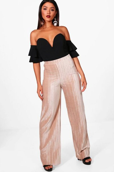Boohoo Amie Pleated Velvet Wide Leg Culottes in sand - Trousers are a more sophisticated alternative to...