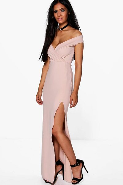 BOOHOO Wrap Top Off Shoulder Maxi Dress - Dresses are the most-wanted wardrobe item for...